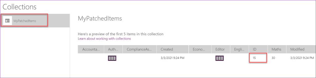 powerapps patch function return values