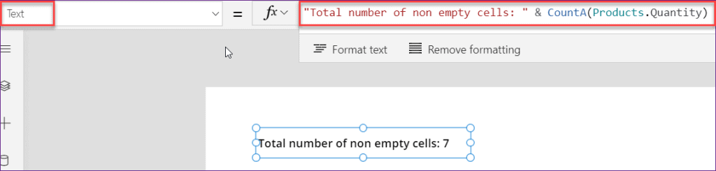 PowerApps CountA function