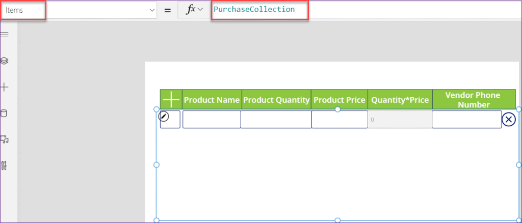 powerapps repeating table sharepoint list