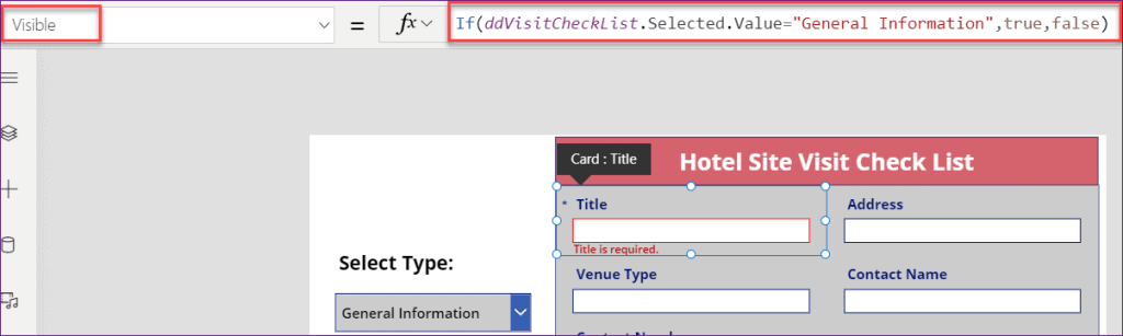 PowerApps Show Hide fields based on conditions