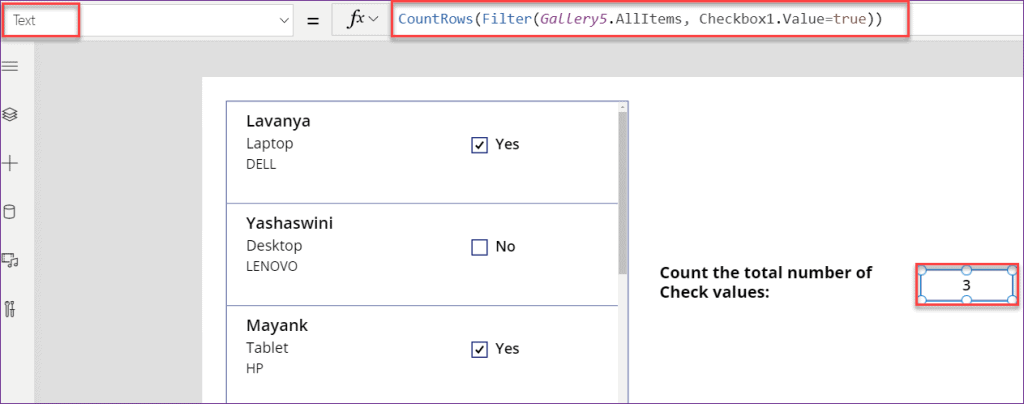 PowerApps count checkbox value