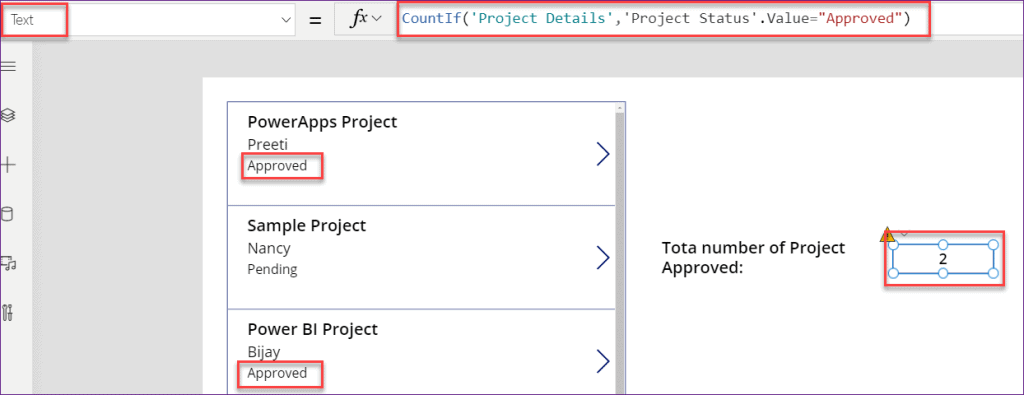 PowerApps count choice