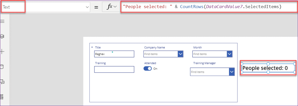 PowerApps count choice value