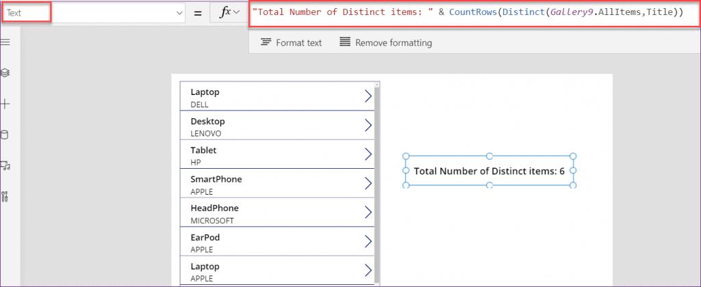 PowerApps count distinct