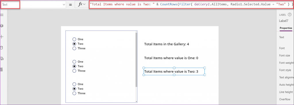 PowerApps count rows in a gallery