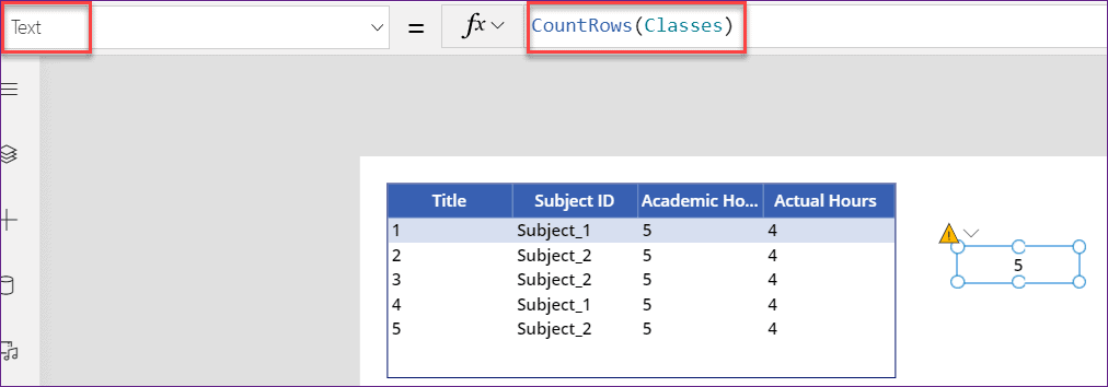 PowerApps count rows in datatable