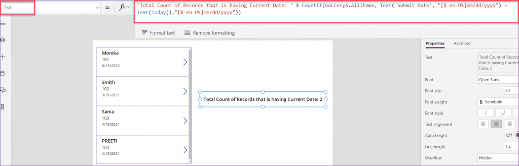 PowerApps countif current date