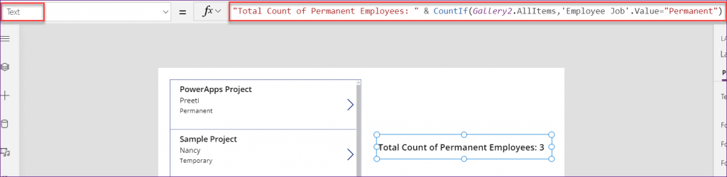 PowerApps countif function in gallery