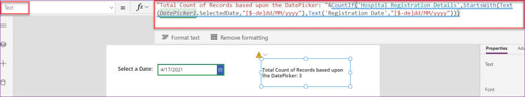 PowerApps countif in date