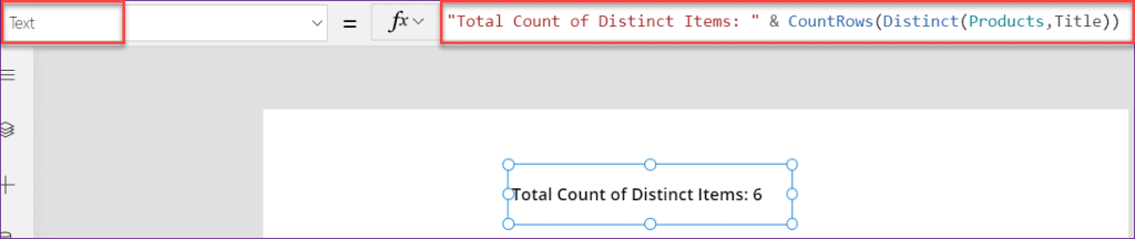 PowerApps countif in distinct