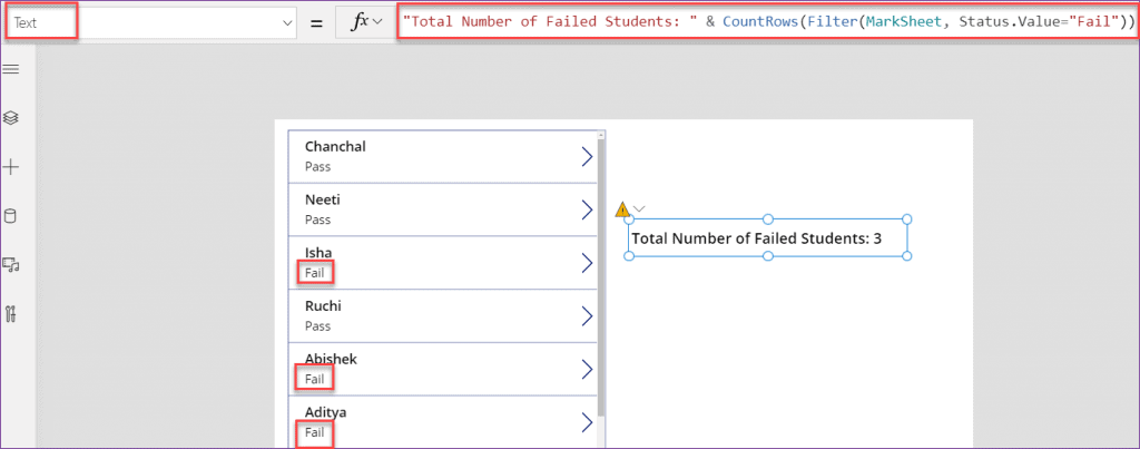 PowerApps countif in sharepoint list