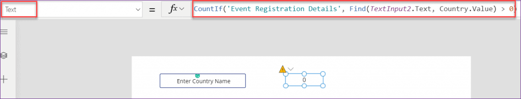 PowerApps countif in text