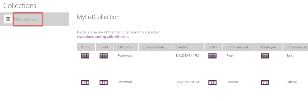 PowerApps countrows collection