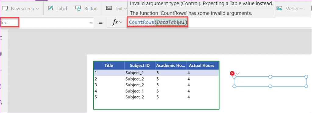 PowerApps countrows datatable