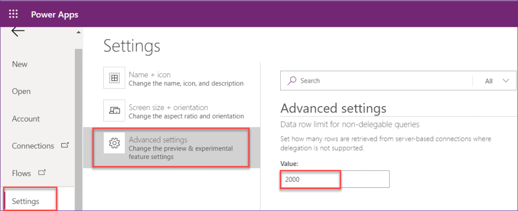 PowerApps countrows delegation sharepoint