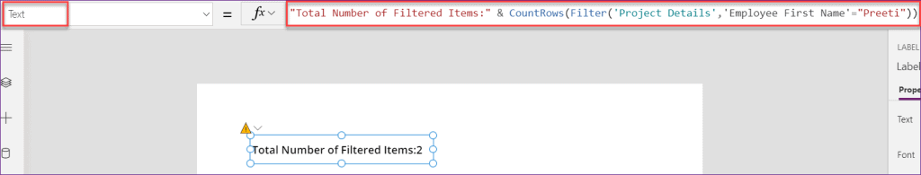 PowerApps countrows filter item