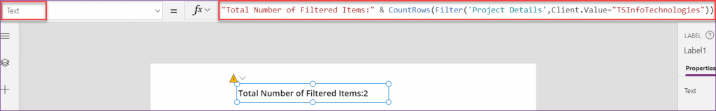 PowerApps countrows filter items