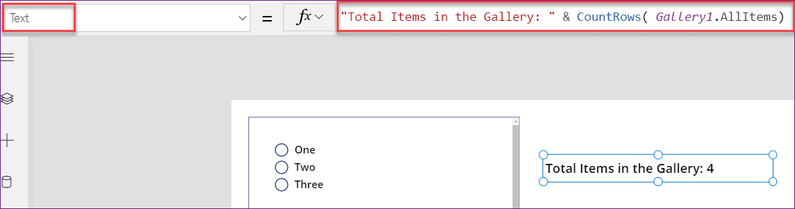 PowerApps countrows in gallery