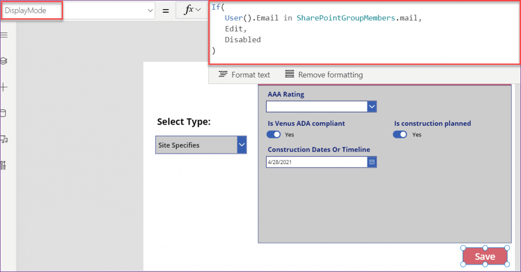 Show Hide fields based dropdown selection in PowerApps