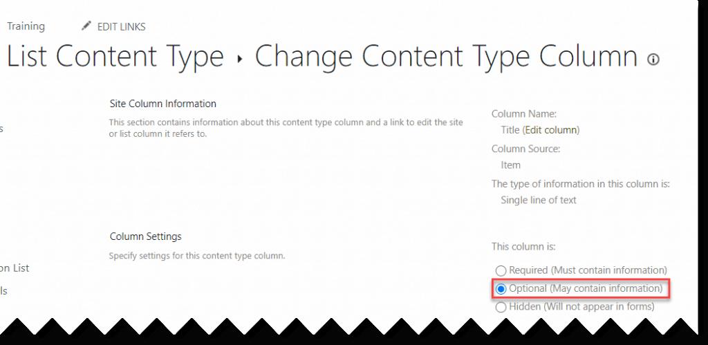 make SharePoint list title column optional