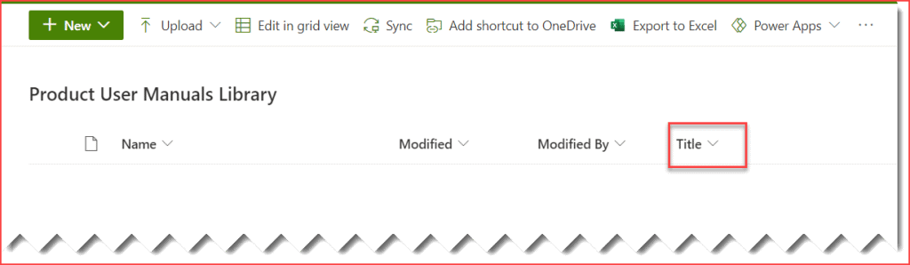 sharepoint library title column