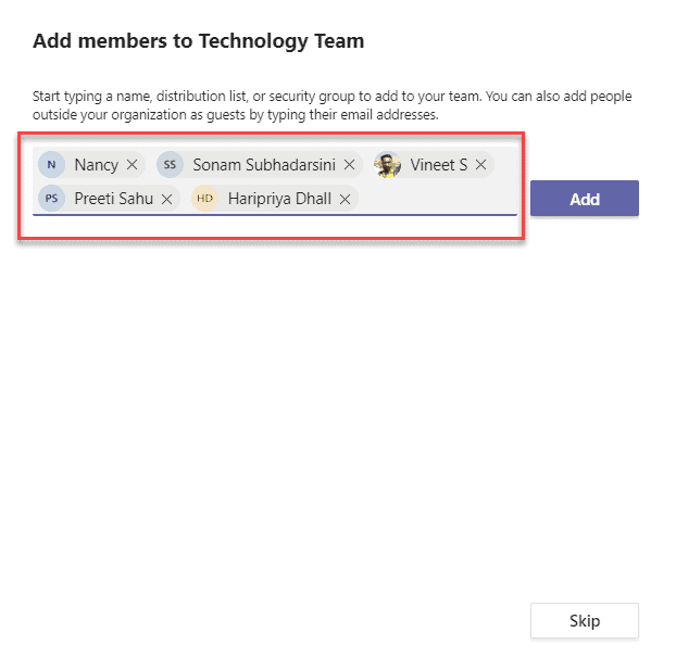 Add member to a team in Microsoft teams