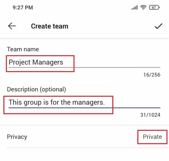How to Create a team in teams mobile app