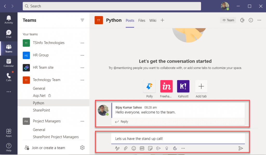 How to Start a conversation in Microsoft Teams