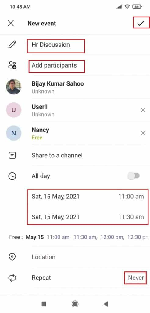How to schedule a meeting in Microsoft Teams mobile app