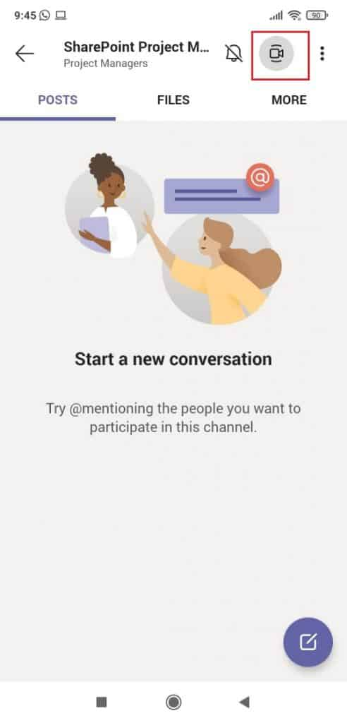How to start a video call in Microsoft Teams mobile app