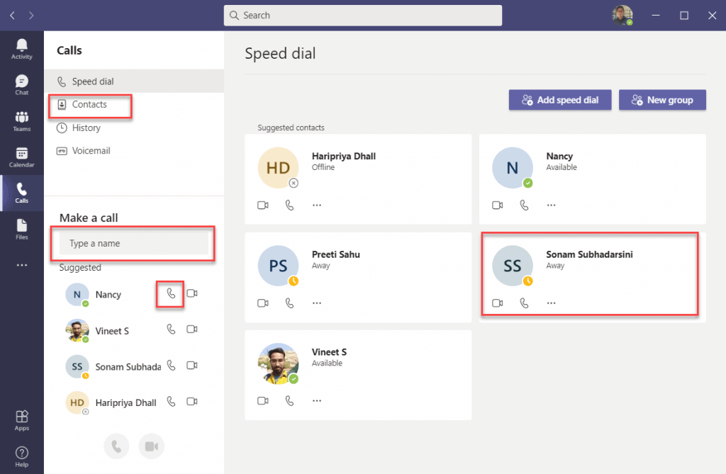 How to start an instant call in Microsoft Teams