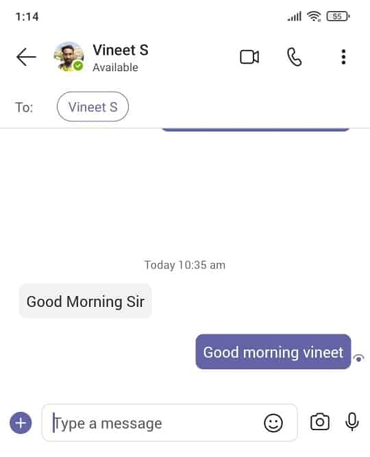 How to start an instant messaging in Microsoft Teams mobile app