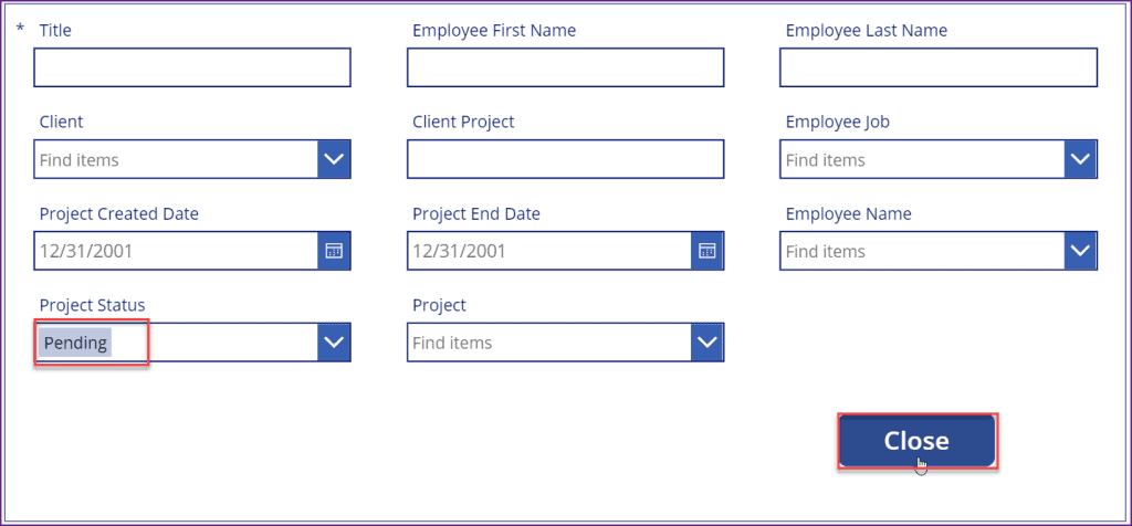 How to use PowerApps button onselect set field values