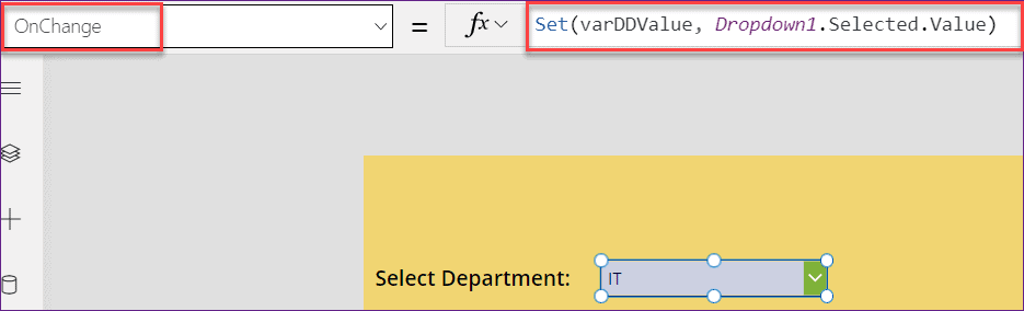 Power Apps button onselect change dropdown