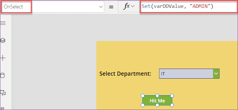 PowerApps button onselect change dropdown value