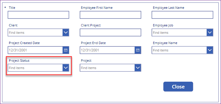 PowerApps button onselect set field value