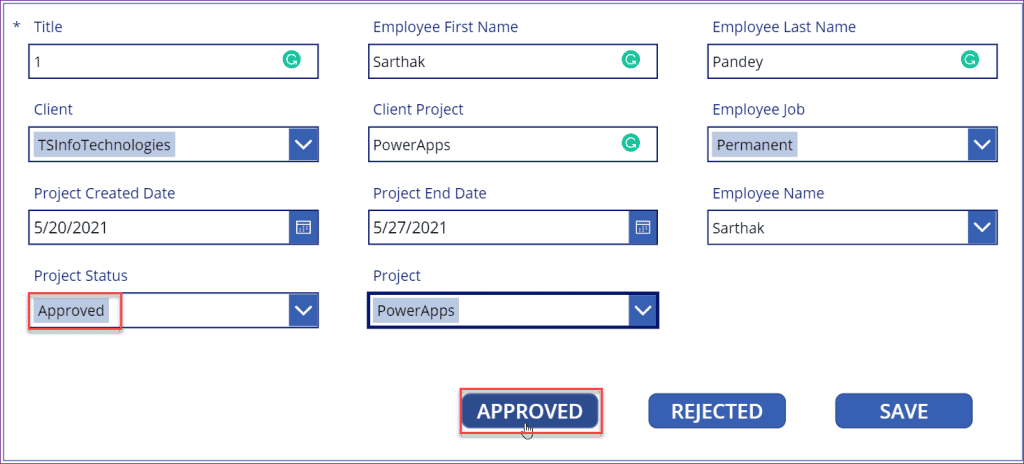 PowerApps button onselect update in sharepoint list