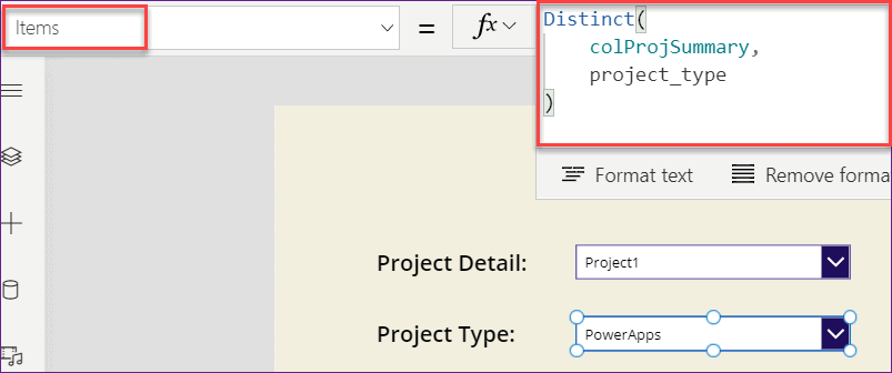 PowerApps dropdown choice from collection