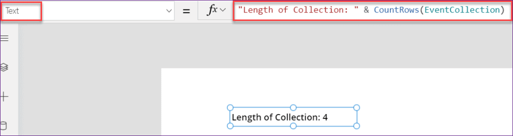 PowerApps length of the collection