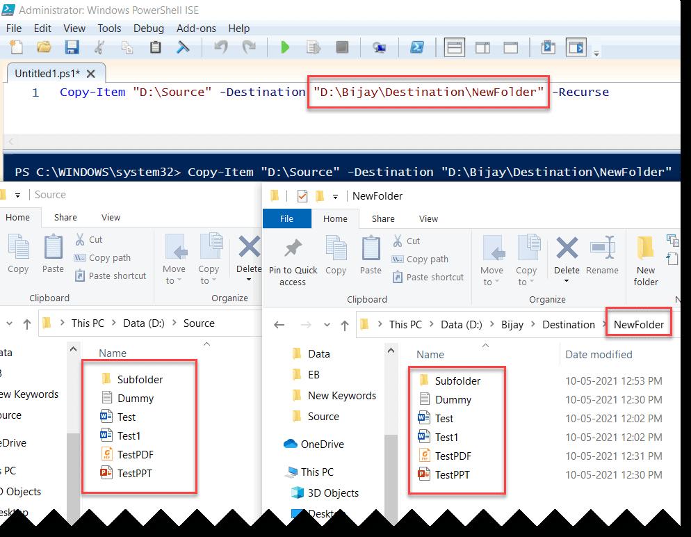 PowerShell Copy Item create folder
