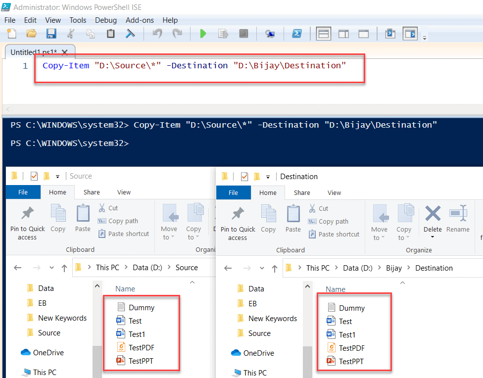 PowerShell Copy Item example
