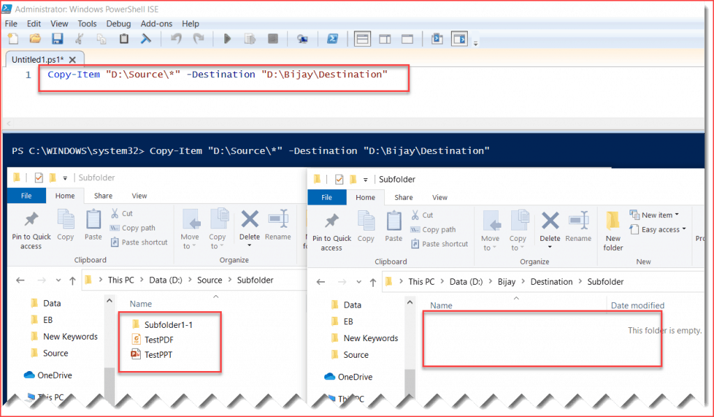 PowerShell Copy Item recurse subfolders