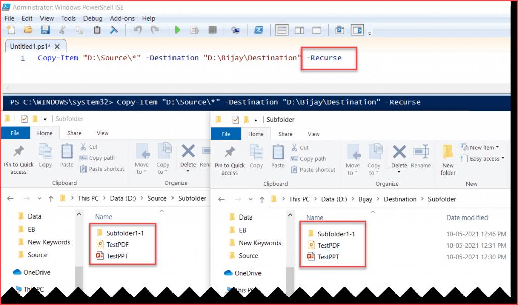 PowerShell Copy Item recurse subfolders example