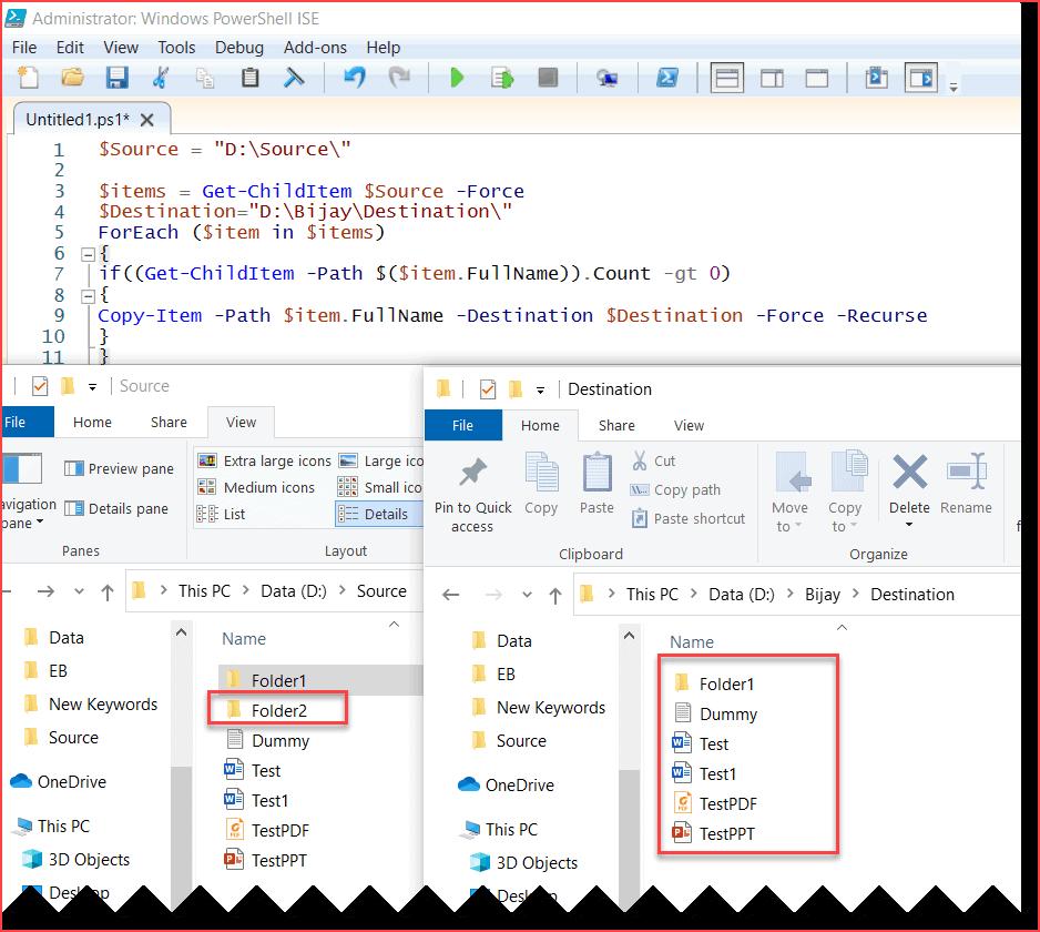 PowerShell copy-item exclude empty folders
