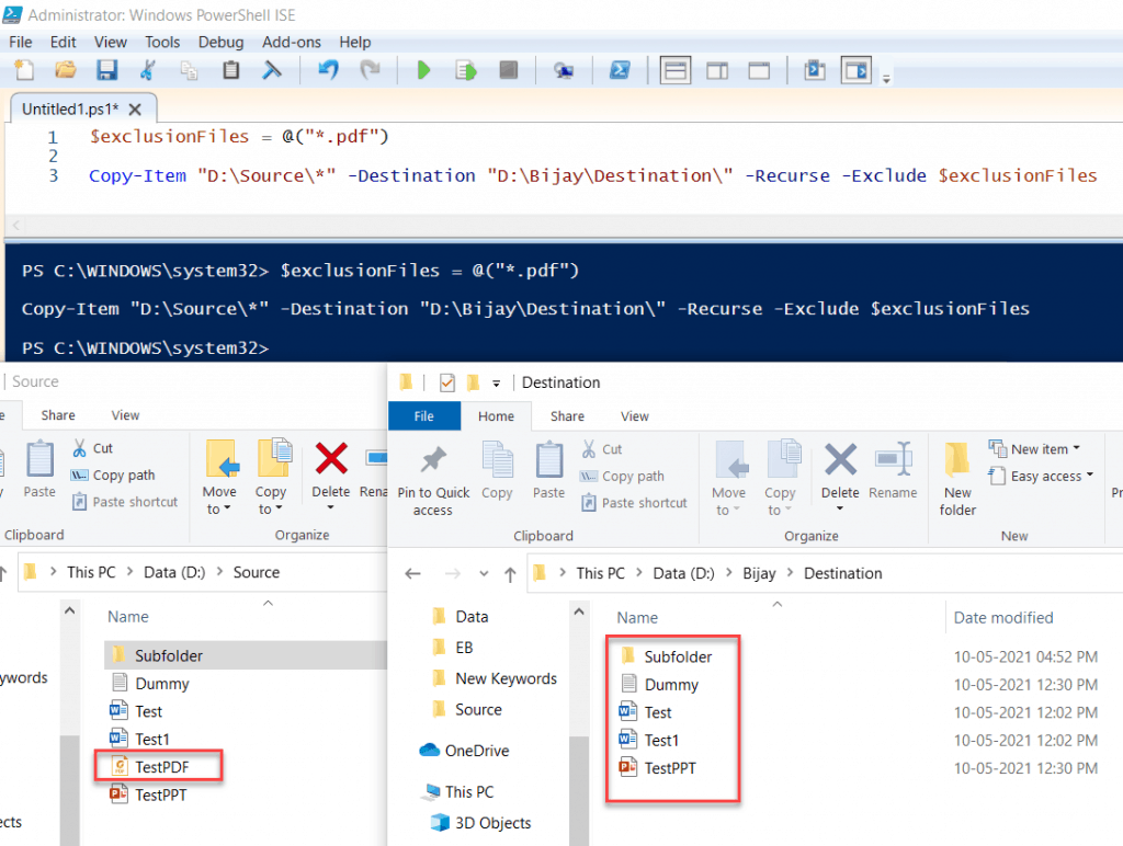 PowerShell copy-item exclude file types