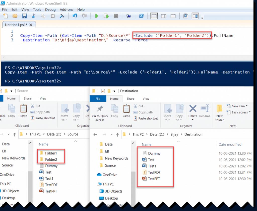 PowerShell copy item exclude folder