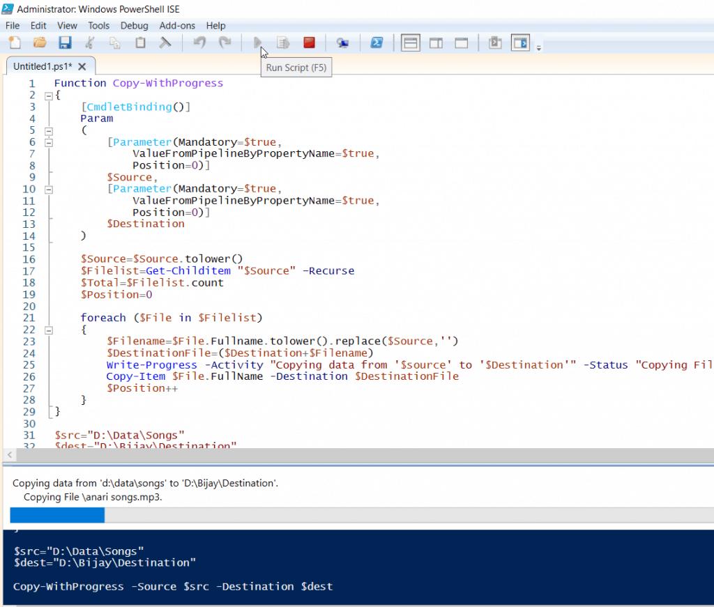 PowerShell copy-item progress