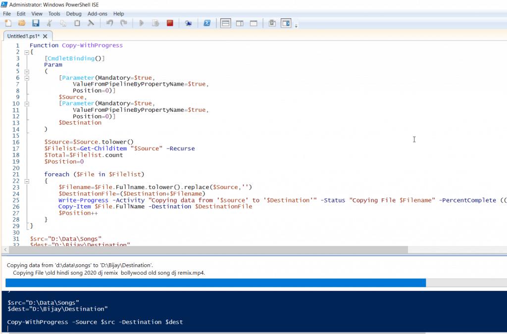 PowerShell copy-item progress example