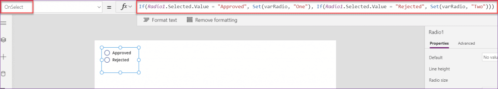 PowerApps radio button onselect