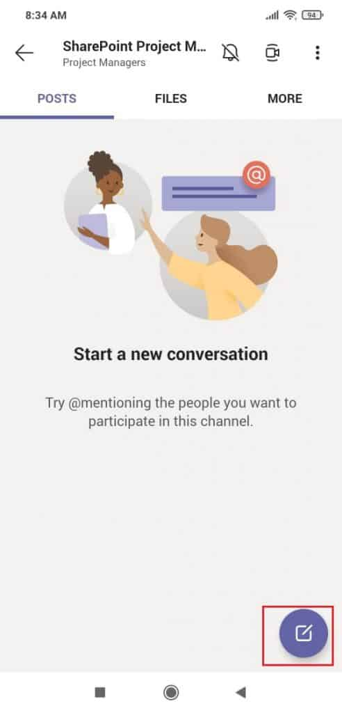 Start a conversation in Microsoft Teams mobile app